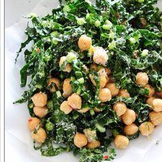 Kale/chick pea salad