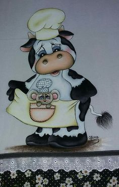 Pintura en tela Cow Painting, Fabric Painting, Precious Moments Coloring Pages, Cow Craft, Owl Clip Art, Cow Decor, Cute Bee, Cute Cows, Spring Painting