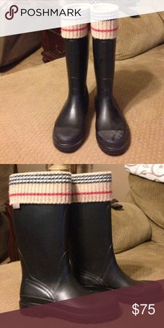 Burberry black rain boots Burberry black rain boots bought them on EBay Burberry Shoes Winter & Rain Boots