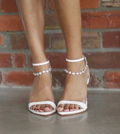 Dosa leather heels with pearl Venus anklet | Grace Loves Lace