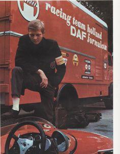 Gijs van Lennep with Racing team Holland DAF transporter and DAF formule 3 racingcar