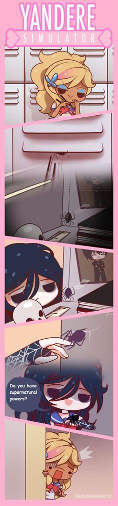 Yandere Comic - Spider-chan by DancerQuartz Yandere Simulator Characters, Yandere Simulator Memes, Anime Characters, Yandere Manga, Yandere Girl, Ayano X Budo, Yendere Simulator, Chibi, Little Games