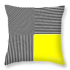 """Geometric abstraction black and white stripes yellow square Throw Pillow 14"""" x 14"""", now at Fine Art America"""