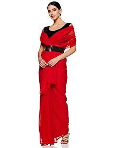 76fe8f84d883f6 Sidhidata Textile Women's Solid Plain Georgette saree With Unstitched Blouse  Piece