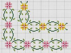 How to Crochet Wave Fan Edging Border Stitch - Crochet Ideas Cross Stitch Bookmarks, Cross Stitch Borders, Cross Stitch Flowers, Cross Stitch Designs, Cross Stitching, Cross Stitch Embroidery, Embroidery Patterns, Cross Stitch Patterns, Kawaii Cross Stitch