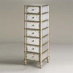 Currey and Company 4212 Harlow Seven Drawer Chest in Antique Mirror/Silver Leaf