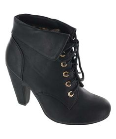 Loving this Black Lace-Up Bless Bootie on #zulily! #zulilyfinds