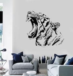 Wall Stickers Tiger Roar Head Jungle Africa Ethnic by BoldArtsy Wall Stickers Tiger, Cheap Wall Stickers, Modern Wall Decals, Vinyl Wall Decals, Art Mural, Wall Murals, Tiger Roaring, Tiger Artwork, Ethnic Decor