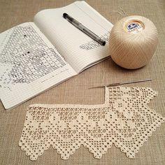 Hand crocheted border filet crochet lace trim linear or