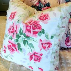 Vintage Porch Pillow Cover Wilendur Tablecloth Pink Roses - Shabby Chic and Cottage style by MyFabricCottage on Etsy https://www.etsy.com/listing/152658961/vintage-porch-pillow-cover-wilendur