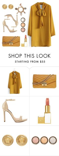 """""""Mustard"""" by amchavesj-1 ❤ liked on Polyvore featuring Chicwish, Chanel, Steven by Steve Madden, Tom Ford, Versace, By Terry, Alexander McQueen, women's clothing, women and female"""