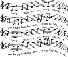 Birthday sheet music stamp...DSR designs