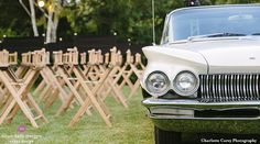 Custom Drive In Movie Party with Vintage Cars and Director's Chairs (Nantucket Tents - www.nantuckettents.com) Design by Dawn Kelly Designs www.dawnkellydesigns.com #nantucket #dkd