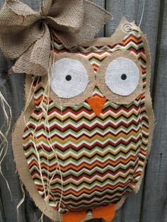 Owl Burlap Door Hanger Door Decoration Fall Chevron Pattern    for Pam...