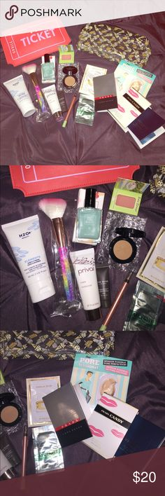 Makeup and face products Brand new make up samples, nail polish, full size facial cleanser, sample perfumes and two make up bags. Makeup