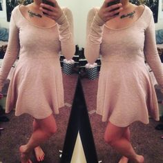 Lace Detail Dress Adorable blush pink lace detail dress! Can definitely dress this up or wear it for whatever! Size medium Forever 21 Dresses Midi