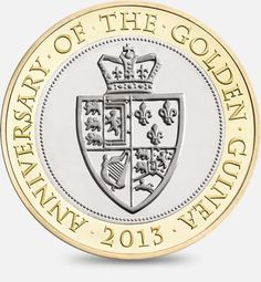 The 350th Anniversary of the Guinea - 2013  http://www.royalmint.com/discover/uk-coins/coin-design-and-specifications/two-pound-coin/2013-guinea