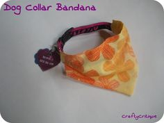 Crafty Critique: Tutorial: Slide On Dog Collar Bandana. Made with similar design, used 1 handkerchief and made 2 medium and 2 small for a fundraiser. Used no sew glue Dog Collar Bandana, Diy Dog Collar, Dog Collars, Bandanas, Dog Crafts, Sewing Crafts, Sewing Projects, Sewing Ideas, Fabric Crafts