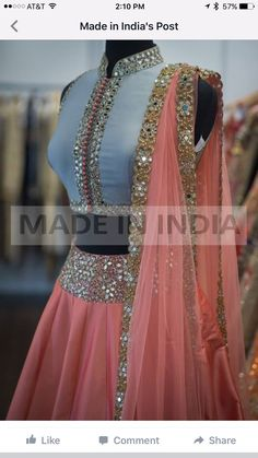 Lehanga skirt and top is part of Lehnga designs - Lehanga full skirt and short top with shawl Indian Gowns Dresses, Indian Fashion Dresses, Indian Designer Outfits, Designer Dresses, Indian Wedding Outfits, Bridal Outfits, Indian Outfits, Bridal Dresses, Half Saree Lehenga