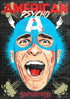 Pop Culture Icons Reimagined with the Screaming Face of Patrick Bateman from 'American Psycho' American Psycho, Captain American, Roy Lichtenstein Pop Art, Arte Pop, Arte Horror, Horror Art, Keith Haring, Christian Bale, Cultura Pop
