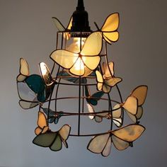 Items similar to RESERVED -Moth to a Flame Lamp - Light Fixture with White and Blue Stained Glass Moths on Etsy Stained Glass Light, Stained Glass Projects, Stained Glass Patterns, Stained Glass Windows, Stained Glass Lamp Shades, Butterfly Stained Glass, Blue Butterfly, Glass Wall Art, Lamp Light