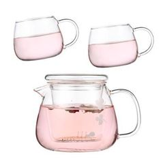 Relea Flower Boil Pot Heat-resistant Glass Tea Pot Set Include 2 Tea Cup Glass Filter Tea Set  Delicate#茶壶#teapot#Tetera#чайник#Théière#Teekanne#moylor