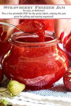 The fresh strawberry season is short and fleeting so capture and wonderful flavor with this fabulous Strawberry Freezer Jam. It's like a little dollop of heaven on toast, biscuits, scones, ice cream, yogurt. Strawberry Freezer Jam, Jam And Jelly, How To Make Jam, Canning Recipes, Freezer Jam Recipes, Relish Recipes, Jelly Recipes, Freezer Meals, Sauce Recipes