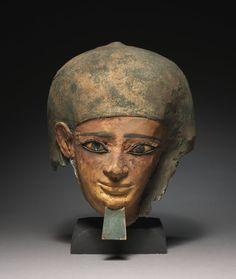 Cartonnage, wood, limestone, obsidian and paint mummy mask of Senbi. Middle Kingdom. 12th dynasty. 1980-1801 B.C. | Cleveland Museum of Art