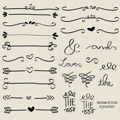 Hand drawn doodle text divider, swirly, clip art for scrapbooking, wedding invitation, personal and commercial use, instant download on Etsy, $4.07 AUD