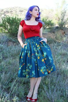 Pinup Girl Clothing Pinup Couture Jenny Skirt in Falling Leaves Print Peasant Top in Red Vintage Inspired Fashion, Modern Fashion, Retro Fashion, Vintage Fashion, Pin Up Outfits, Pretty Outfits, Fashion Outfits, Pretty Clothes, Pinup Girl Clothing