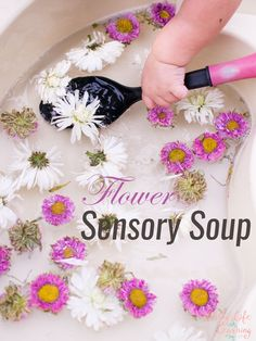 Flower Sensory Soup My toddler loves water play! This time, I threw in some fresh flowers that were just about to fade, and this quick and simple Flower Sensory Soup kept him entertained for a long time! Sensory Activities Toddlers, Nature Activities, Spring Activities, Infant Activities, 18 Month Old Activities, Water Play Activities, Playgroup Activities, Water Games, Indoor Activities
