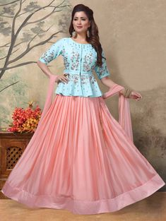 Pink Art Silk Readymade Lehenga Choli With Peplum 192894 - Lehenga Choli Designs, Sharara Designs, Choli Blouse Design, Kurti Designs Party Wear, Saree Blouse Designs, Party Wear Indian Dresses, Designer Party Wear Dresses, Indian Gowns Dresses, Indian Designer Outfits