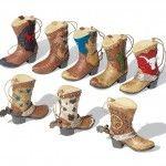 Western Cowboy Boots Ornament Set