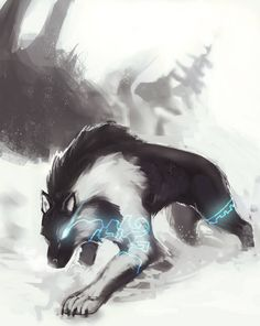 TP Wolf Link concept art by R Daza on DeviantArtYou can find Deviantart and more on our website.TP Wolf Link concept art by R Daza on DeviantArt Mystical Animals, Mythical Creatures Art, Magical Creatures, Fantasy Wolf, Fantasy Beasts, Fantasy Art, Anime Wolf, Equipe Pokemon, Twilight Wolf