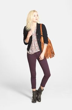 Black sweater and a feminine floral shirt with a more edgy maroon pant and ankle boots is just my style. No fringe bag though, nope. // James Perse Fleece Jacket, Hinge Print Top & Paige Denim Skinny Jeans