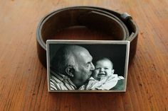 Custom photo buckle personalized with a photograph of a grandpa and baby!  Great father's day gift idea!