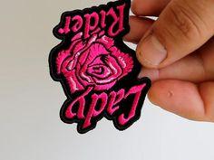 Lady Rider Pink Rose Iron on Patch Biker Patches, Iron On Patches, Biker Wear, Lady, Rose, Pink, Roses, Pink Hair