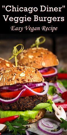 Chicago Diner Mushroom Burgers Recipe (A Vegan Copycat!) Chicago Diner Mushroom Burgers Recipe – a riff on the meaty veggie burgers from a popular vegan restaurant. Dairy-free, egg-free and vegan (no beans! Mushroom Veggie Burger, Best Veggie Burger, Vegetarian Burgers, Diner Recipes, Burger Recipes, Restaurant Recipes, Vegan Recipes Easy, Vegetarian Recipes, Vegetarian Cooking