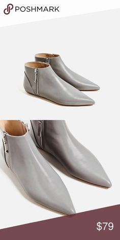 Brand new leather flat ankle boots NWT 100% cow leather, color grey Flat no heel, pointed design. No trade. Brand: Zara. Bundle to save more❗️ Zara Shoes Ankle Boots & Booties