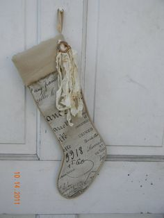 Linen French #Christmas #Stocking  Price: $25.00