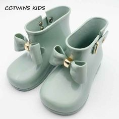 2f38a52803e9 CCTWINS KIDS 2017 spring summer child pvc shoe for baby girl bow rain boot  boy wellington boot kid brand waterproof boot C1095