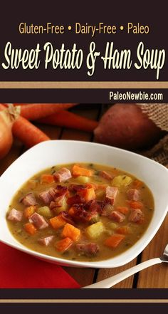 Soul-warming soup made with pre-cooked ham and nutrient-dense veggies. Layers of wonderful flavors including a touch of maple and mustard. An easy, must-try recipe! #paleo #glutenfree #soup