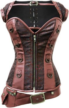 The Violet Vixen - A Perfect Storm Steampunk, $107.10 (http://thevioletvixen.com/corsets/a-perfect-storm-steampunk/)  Steampunk, Corset, Plus Sizes Available, Sexy, Industrial, Brown, Leather, Brocade, Bolero Jacket, Pair with Jeans, Woman, Fashion, Independent, Pretty, Unique, Waist Training, Artistic, Strong, Spy