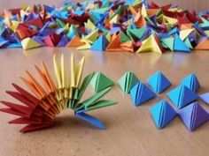 Also, what a great idea using stop-motion for origami videos! A bit hard to do, as seen by the sticky putty 🙂 Soooo colorful! Also, what a great idea using stop-motion for origami videos! A bit hard to do, as seen by the sticky putty 🙂 Origami Star Box, Origami Ball, Origami Love, Origami Fish, Origami Design, Diy Origami, Rainbow Origami, Origami And Quilling, Origami And Kirigami