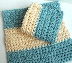Crochet Dishcloths Washcloths  Set of 2
