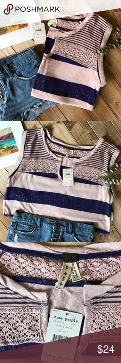 """• FREE PEOPLE dusty mauve striped tee • Dusty mauve and navy blue purple color stripes with crochet front detail and rolled sleeves. New with tags and never worn! No flaws! Length: 28"""" Bust: 21"""" laying flat Free People Tops Tees - Short Sleeve"""