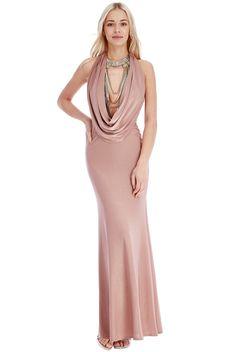 Cowl Neck Maxi Dress - Rose