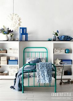 Country Style magazine. From fresh flowers to bright storage boxes, a touch of blue can brighten any space or room in the house. Photography Craig Wall, styling Vanessa Colyer Tay