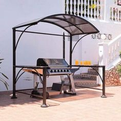 Discounts on Burma BBQ Metal Garden Gazebo with Curved Roof and Shelves and all Marquees & Pop Up Gazebos at Internet Gardener - Click or call to order today Gazebo Sale, Grill Gazebo, Pergolas For Sale, Backyard Gazebo, Garden Gazebo, Pergola Patio, Patio Shade, Pergola Shade, Deck Bbq Ideas