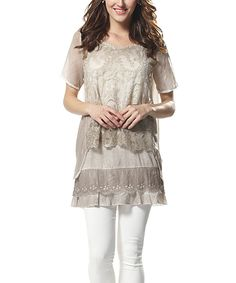 Look at this Simply Couture Khaki Lace Layered Tunic on #zulily today!